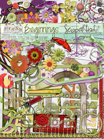 Scrap Artist: Fresh Beginnings by Anna de Jong, Amber Clegg, Christine Honsinger, eclectic designs by Gabi and HGD by Laurie Ann