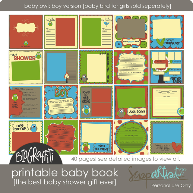 free printable baby book templates - printable baby book giveaway simple scrapper
