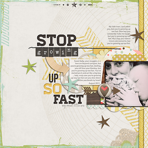 A layout created using a template from Little Green Frog Studios (credits).