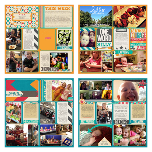 Two weeks of Project Life pages all using only Just Jaimee's September Storyteller kit.