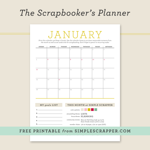 January Scrapbooker's Planner: Free Printable at Simple Scrapper