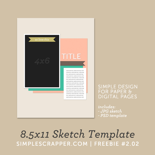 8.5x11 Sketch Template | Simple Scrapper Freebie #2.02