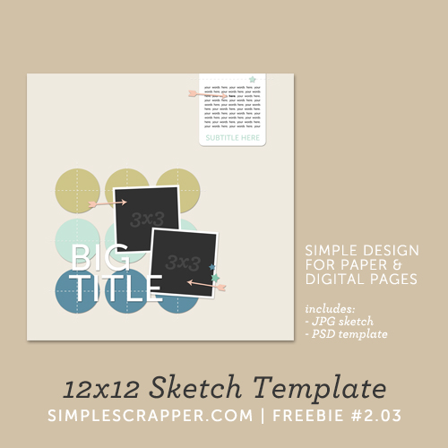 12x12 Sketch Template | Simple Scrapper Freebie #2.03