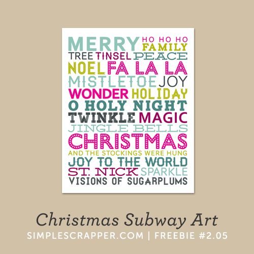 Christmas Subway Art | Simple Scrapper Freebie #2.05