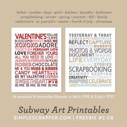 Subway Art Printables | Simple Scrapper Freebie #2.08