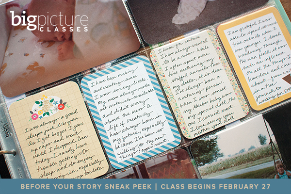 Sneak peek of Before Your Story, an album workshop with Jennifer Wilson at Big Picture Classes