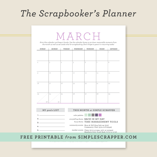 March Scrapbooker's Planner: Free Printable at Simple Scrapper