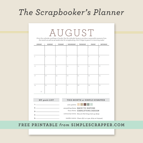 August Scrapbooker's Planner: Free Printable from Simple Scrapper