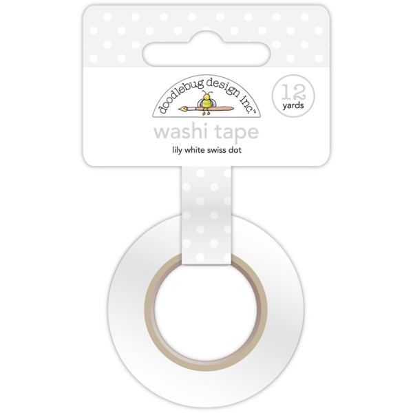 Doodlebug Design - Washi Tape - Lily White Swiss Dot